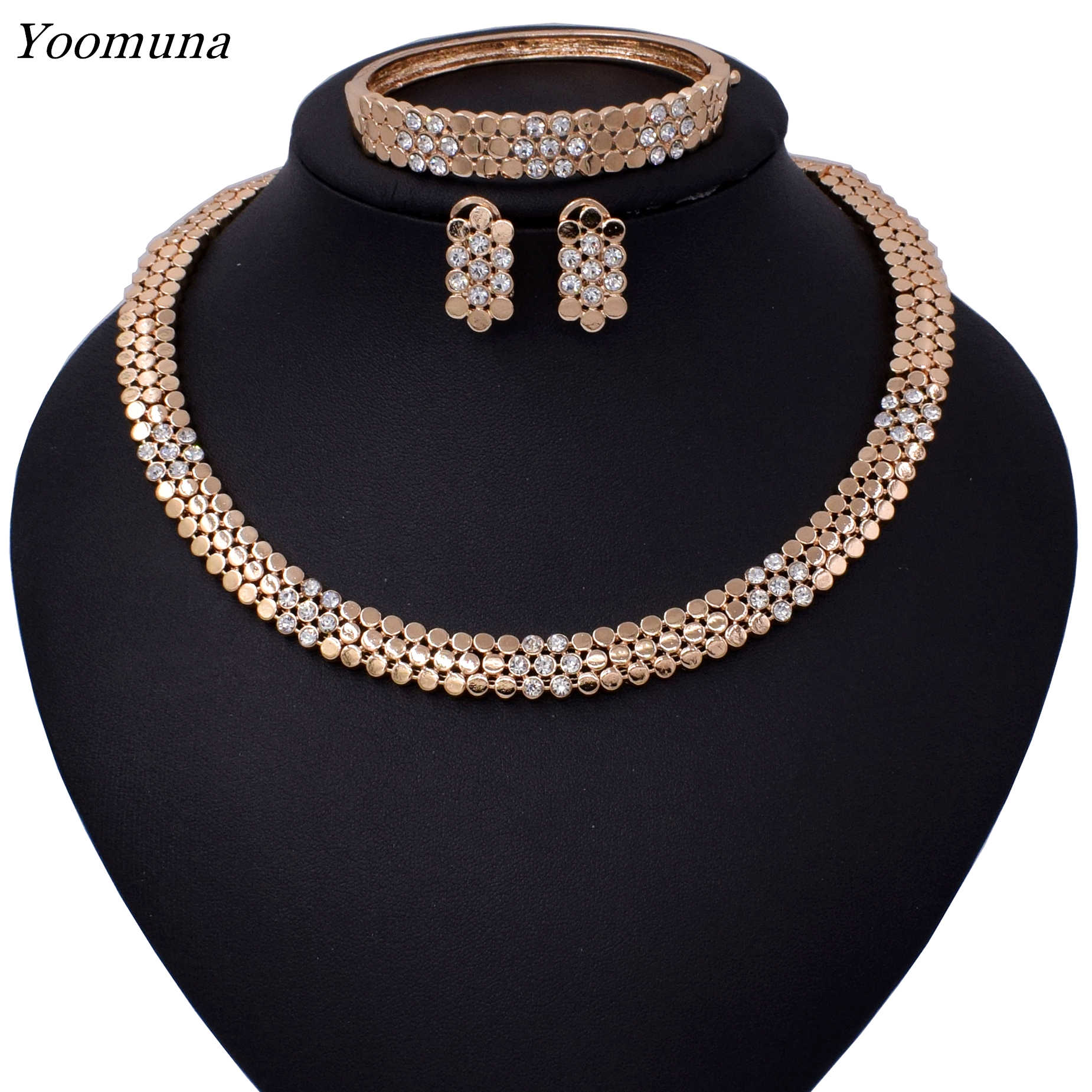 Fashion dubai jewelry sets  Gold/Silver color Jewelry Sets Women Nigerian Wedding Fashion African Beads Jewelry set