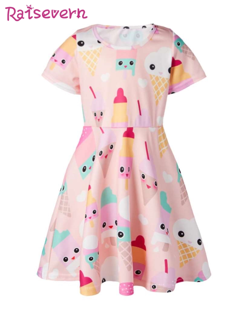 36c607610ccc Food Ice Cream Print Baby Girl Dress Kids Dresses For Girls Clothes Children  Sweet Pink Clothing Kids Girls Home Party Clothes-in Dresses from Mother    Kids ...