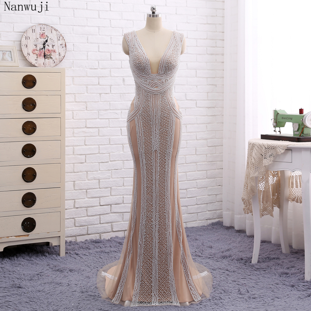 Real PhotoLuxury Champagne Mermaid   Evening     Dresses   With Pears Sweep Train Sparkly   Evening   Gown Robe De Soiree 2018 In stock