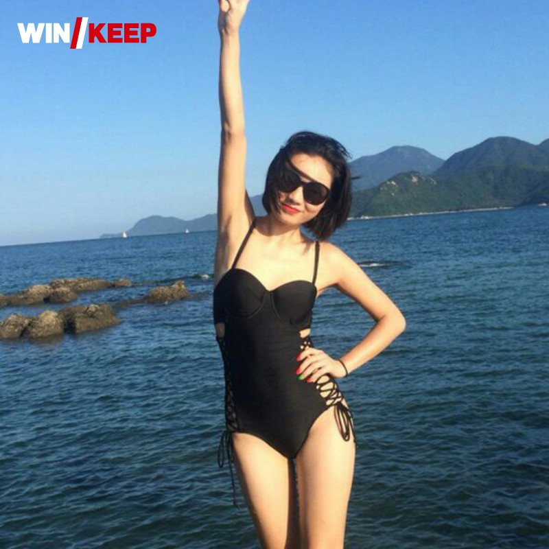 European New Sexy Solid Swimsuits Bathing Suit Women One Piece Bandage Rims Padded Top Sport Swimwear Women Maillot De Bain new original for lenovo thinkpad t550 palmrest keyboard bezel cover upper case with touchpad fru 00ny460