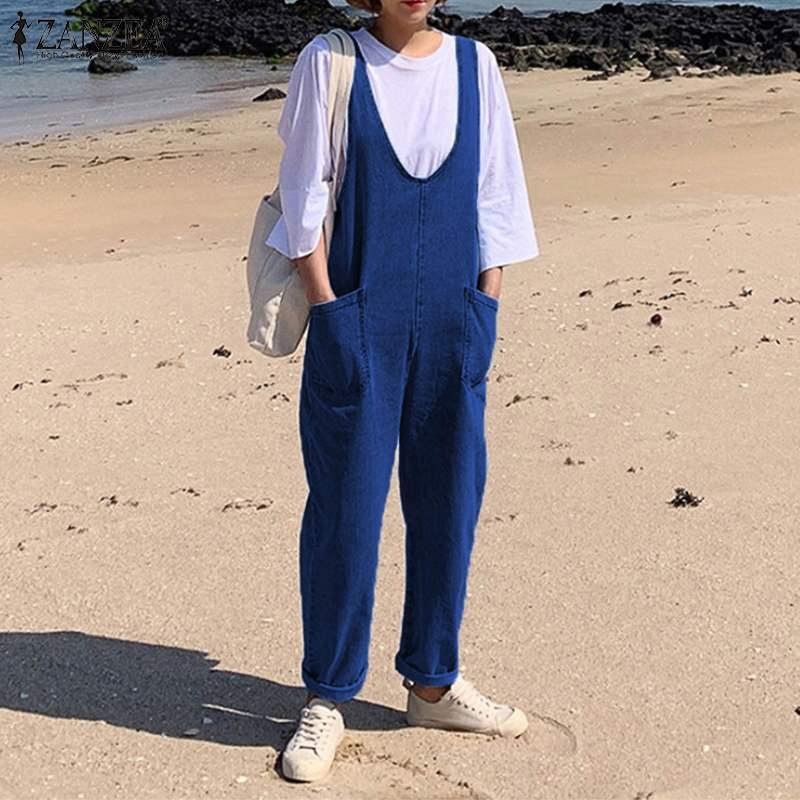 2019 ZANZEA Vintage Denim Blue Overalls Women's Summer Jumpsuits Casual Jean Playsuits Female Strap Rompers Woman Plus Size Pant