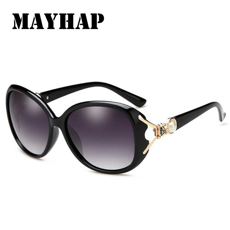 MAYHAP Newest Fashion Ladies Sunglasses Brand Designer Pearl Decoration Glasses Clear Women Polarized Sun Glasses High Quality