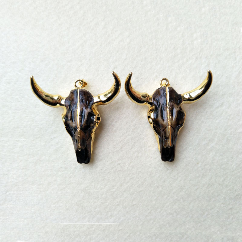 5PCS/lot 24k Gold color horn cattle Tau Pendant, <font><b>Longhorn</b></font> bull oxhead <font><b>Charms</b></font> for DIY jewelry necklace making PD396 image