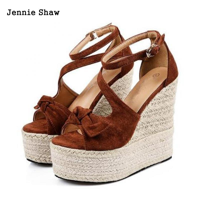 Sexy Peep Toe Sapatos de Fundo Grosso Sapatos de Verão Sandálias de Cunha Mulheres