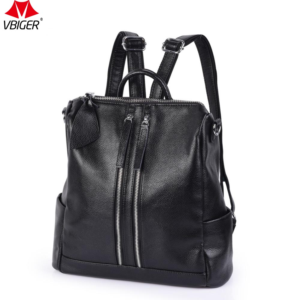 Vbiger Genuine Leather Women Fashion Backpacks Large Capacity Backpacks High Quality Bags Fashion Style Bags for Girls fashion style