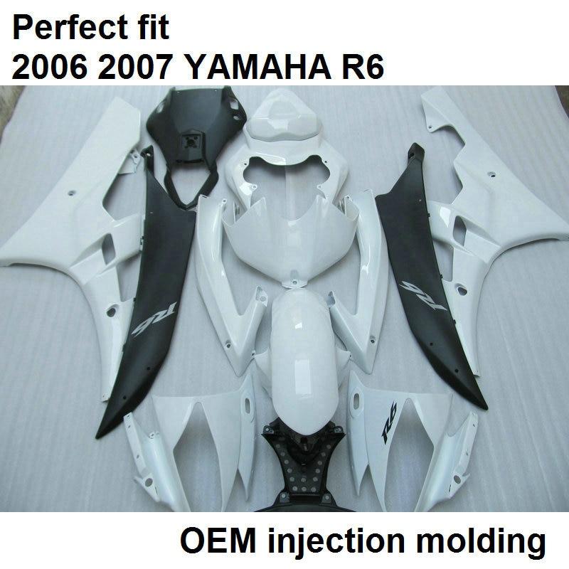 Injection molding fairings for Yamaha YZF R6 06 07 white black motorcycle fairing kit YZFR6 2006