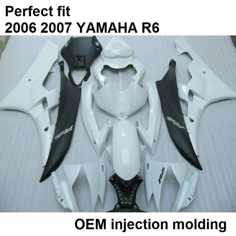 Injection molding fairings for Yamaha YZF R6 06 07 white black motorcycle fairing kit YZFR6 2006