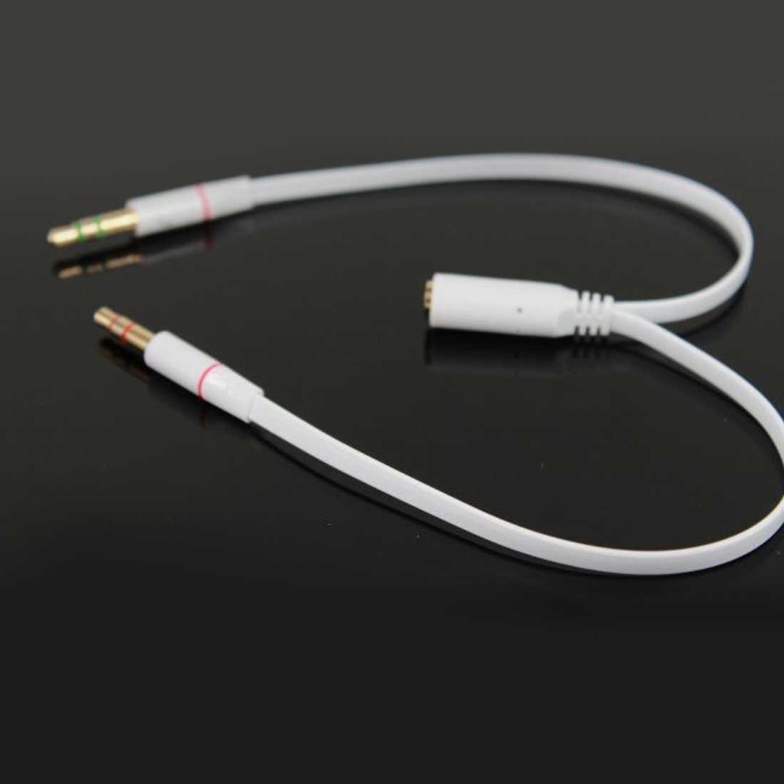 Marsnaska Putih 3.5 Mm Headphone Earphone Audio Kabel Micphone Y Splitter Adaptor 1 Perempuan untuk 2 Male Terhubung Kabel untuk laptop PC