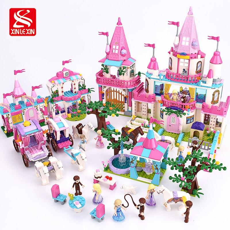 Xinlexin construcción Blocs Juguetes para niños regalos Castillo Niñas amigos princesa Príncipe Alicia princesa Sets