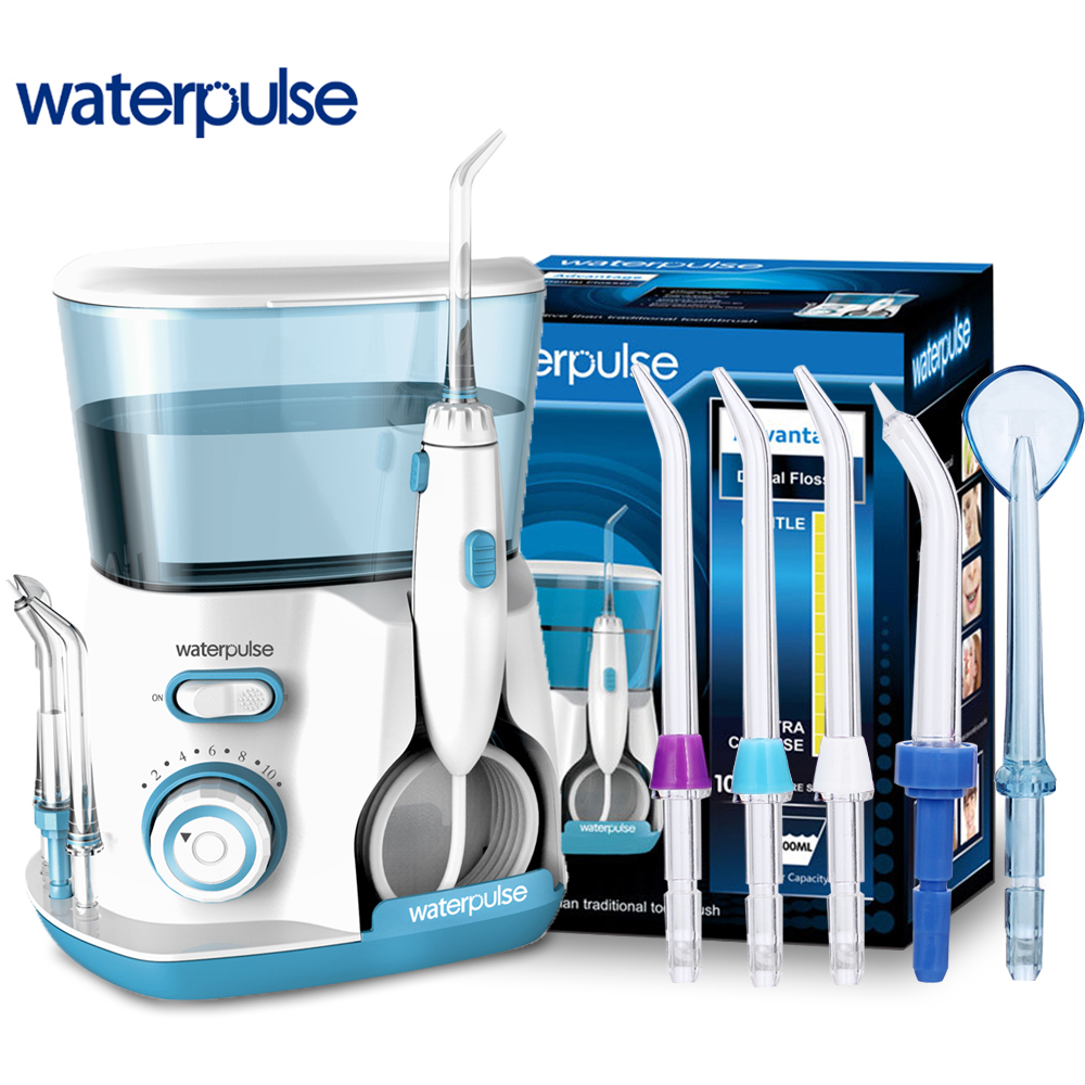 Waterpulse V300G Oral Irrigator Dental Water Flosser Water Floss 800ml Oral Hygiene Dental Flosser Water Flossing 5pcs Nozzles waterpulse dental flosser v300 800ml dental irrigator powerful flosser dental water jet oral hygiene water tooth flosser
