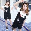 2017 moda preto cinta macacão macacão macacão macacão mulheres cat bordado calções macacão plus size xl-4xl c332