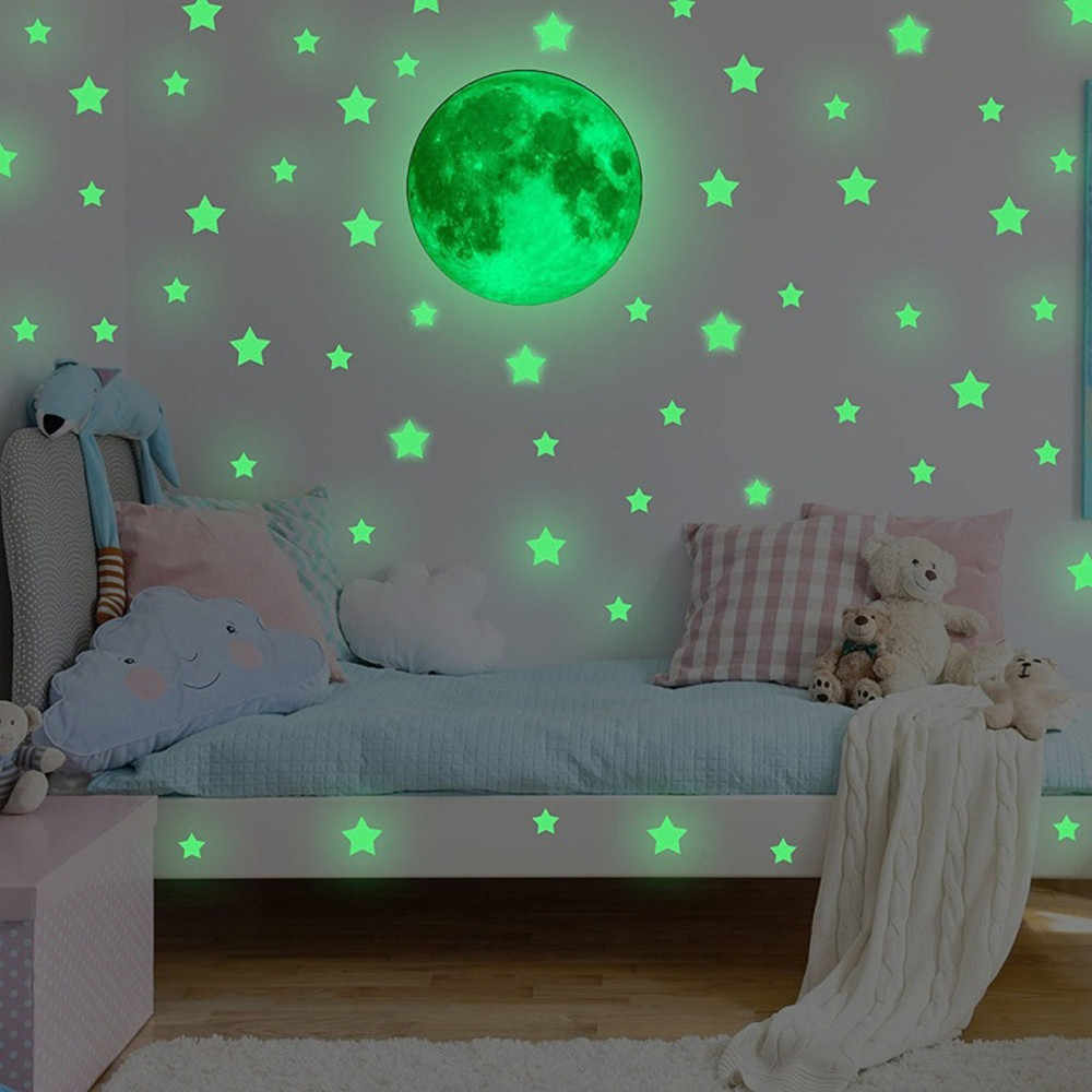 3D Star Moon Glow In The Dark Luminous Wall Sticker Decal Room Home Decor Poster