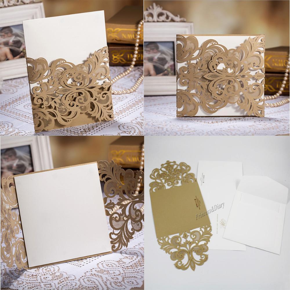 50Pieces High Class Wedding Invitation Card Laser cut Flower Gold ...