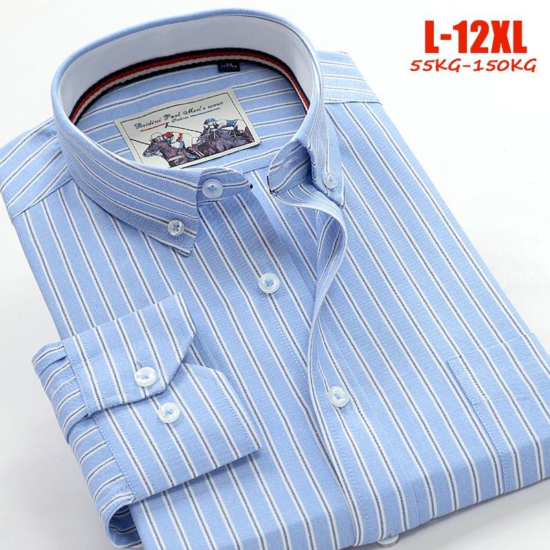New Oxford Shirts Men 10xl 11xl 12xl Striped Casual Men Shirts Long Sleeve England Style Big Size Shirts Men 75-150kg