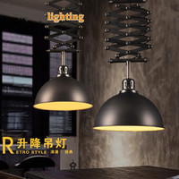 LOFT Retro Industrial Wind Iron Arts Lift Telescopic Chandeliers Clothing Shop Cafe Bar Restaurant Lamp Free Shipping