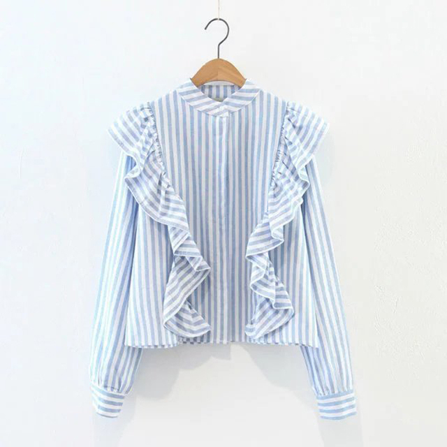 2017 Spring Fashion sweet ruffles striped shirt women 's long - sleeved stand collar bottoming blouse