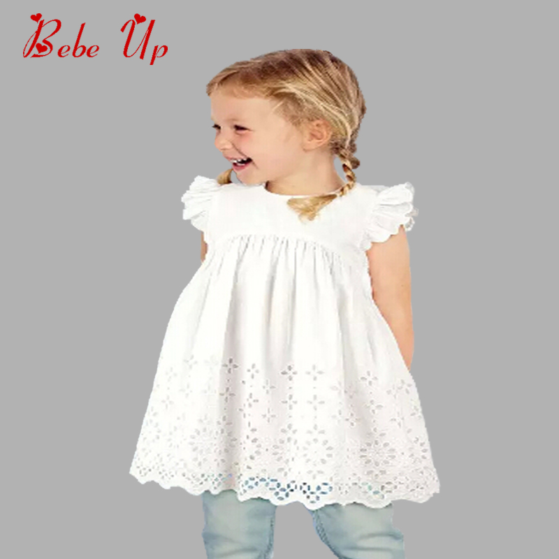 Baby Girls Summer Dress Cotton Sleeveless Kids Toddle Dress White Beautiful Children Princess Clothing A-line Dresses Girl Party summer 2017 new girl dress baby princess dresses flower girls dresses for party and wedding kids children clothing 4 6 8 10 year