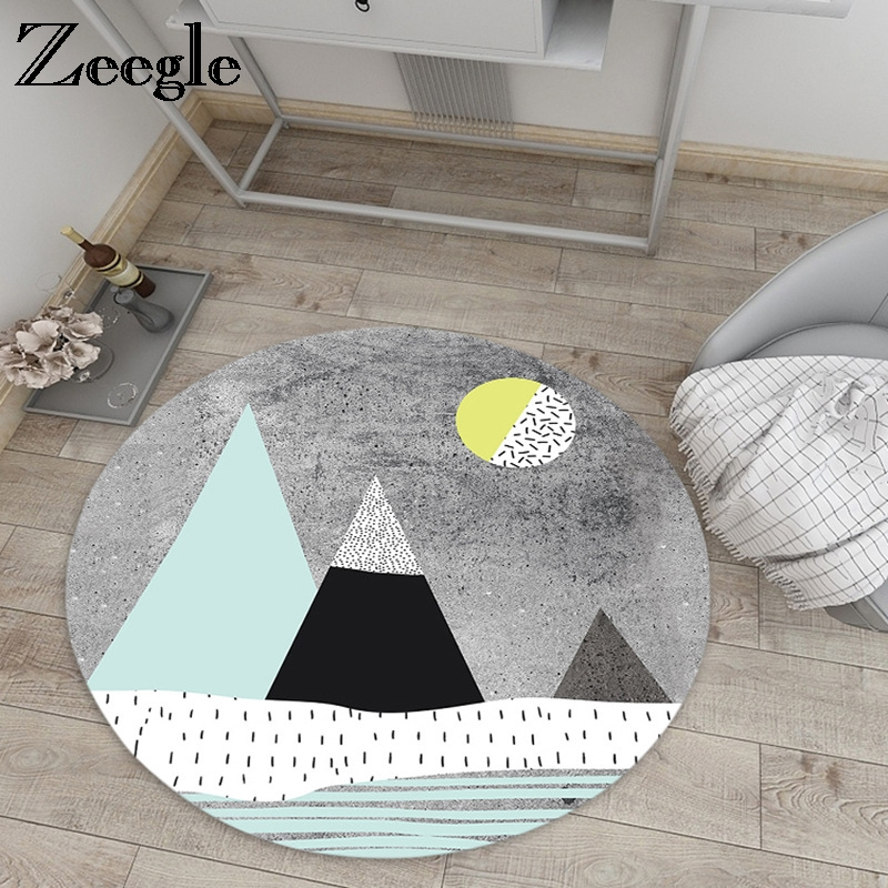 Us 14 98 39 Off Zeegle Carpet For Children Baby Room Mats Non Slip Round Area Rug Living Floor Mat Bedroom Bedside Rugs In