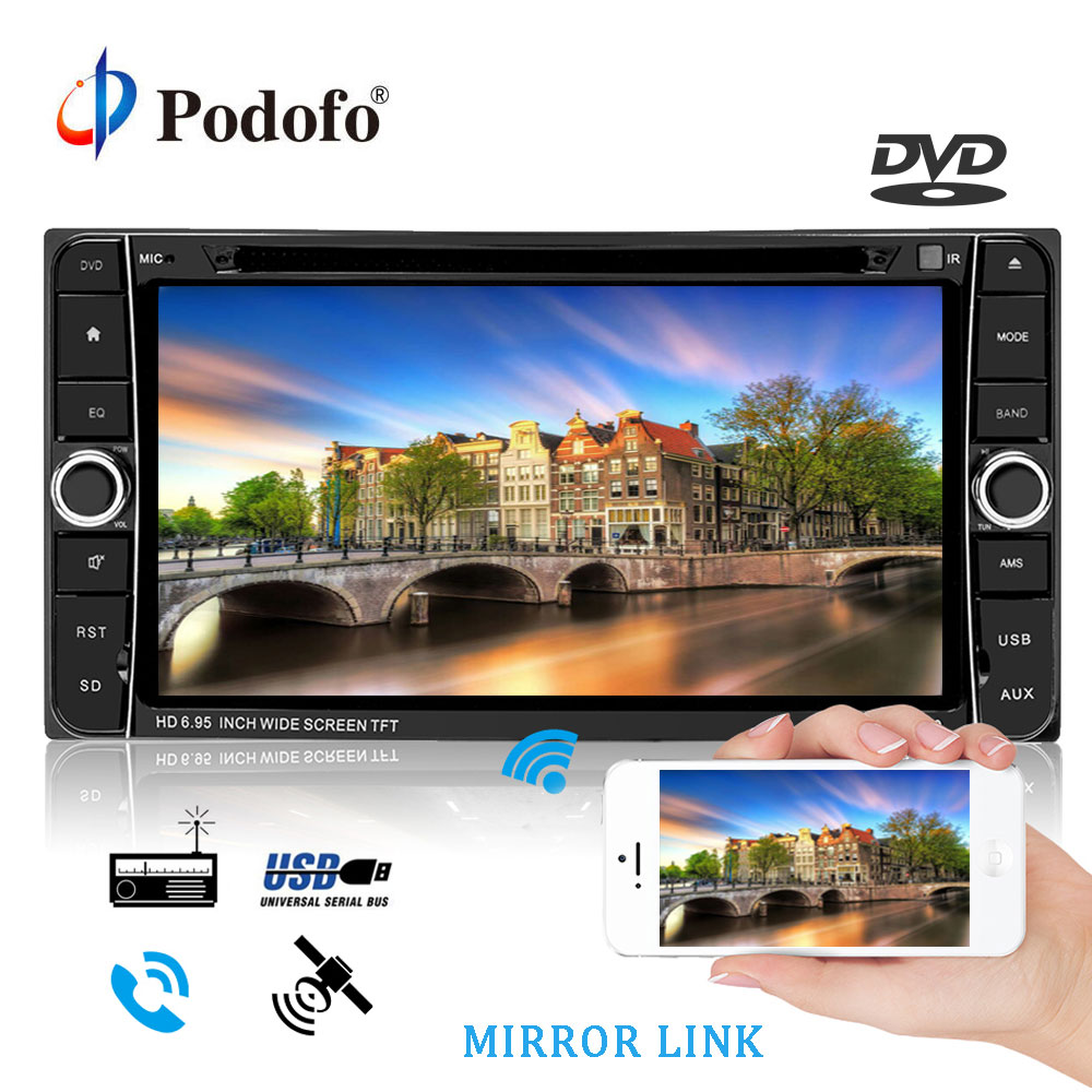 Podofo 7 Android 2 Din Car Radio DVD Stereo Audio GPS Navigation 2din Multimedia player For Toyota Corolla Automagnitol Player eunavi 7 2 din android 7 1 8 1 car dvd player radio multimedia gps navi for toyota rav 4 rav4 audio stereo 2din rds wifi usb