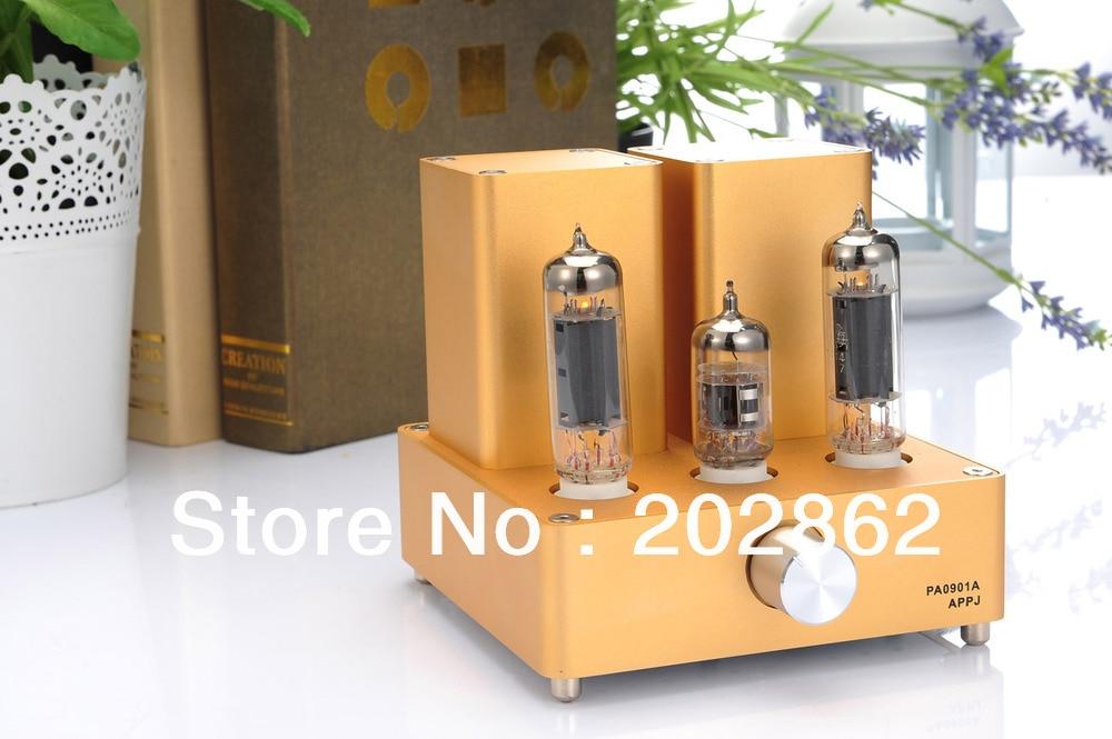 2013 New (miniwatt N3) HIFI Audio EL84+12AX7B Small APPJ Tube Amplifier Amp Gold appj pa0901a tube amp miniwatt n3 el84 12ax7 hifi exquis desktop pc amplifier