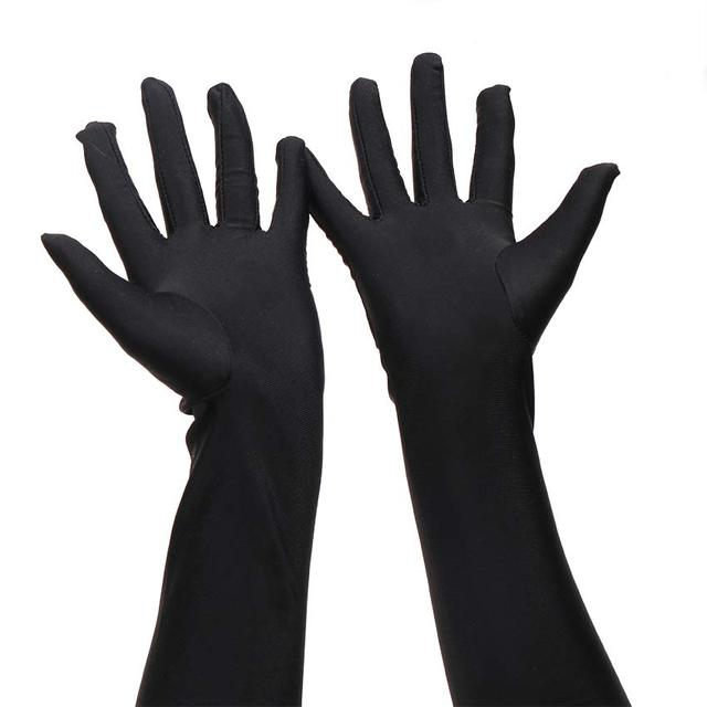 1 Pair Long Finger Elbow Sun Protection Gloves Opera Evening Party Prom Costume Fashion Gloves Black Red White 4