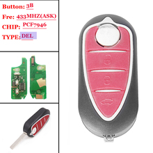 (1pcs )Flip Remote Key For Alfa Romeo 147 156 166 GT 433Mhz Replacement Car Fob Chip ID46/PCF7946 3Buttons