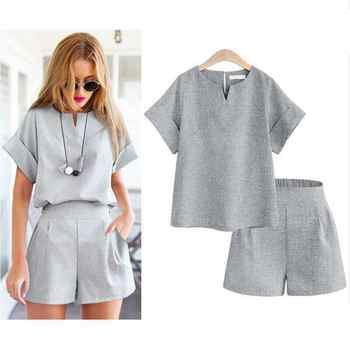 New Summer Style Casual Cotton Linen Women Tops Shirt Feminine Pure Color Female Office Suit Set Women\'s Costumes Hot Short Sets