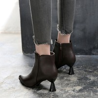 Strange High heeled Boots Women Autumn Winter Fashion Ankle Boots Plus Velvet Pointed Toe Women Shoes Sexy Zipper Bottes