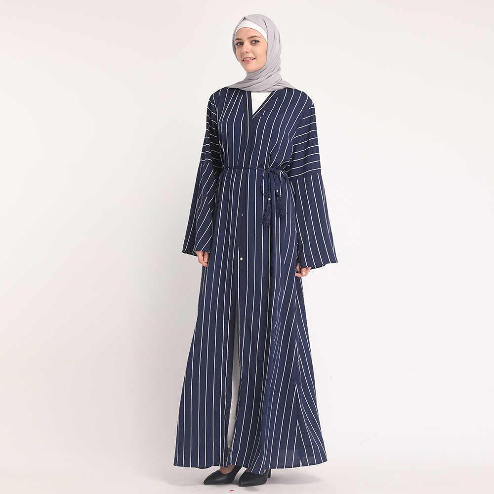 ... Striped Abaya Turkish Dubai Women Black Blue Muslim Cardigan Kimono  Bangladesh Long Robe Hijab Kaftan Caftan c19ffc990