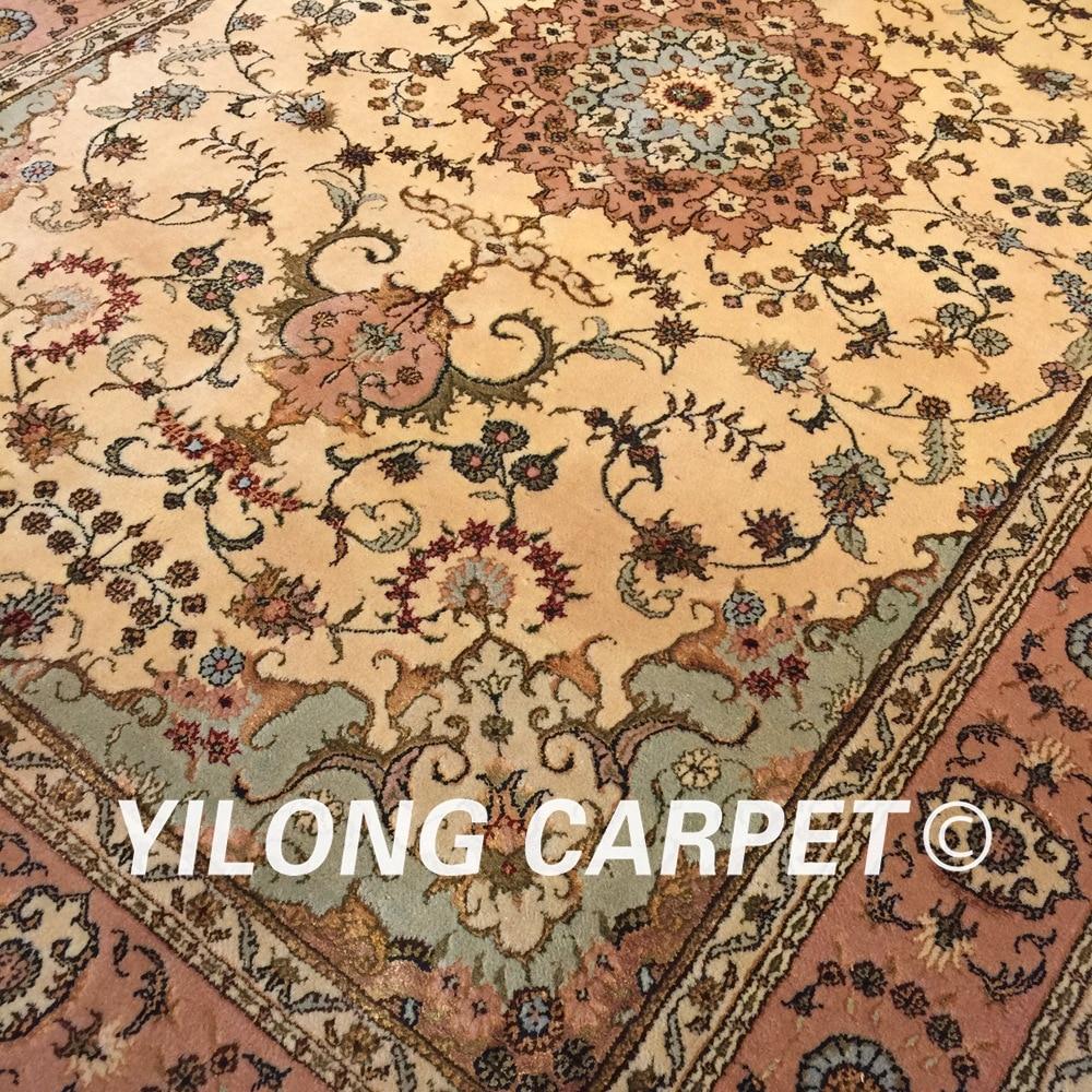 Yilong 4'x6 'fait à la main antique perse laine soie tapis oriental salon décoration jaune laine fait main tapis (WY2094S4x6) - 5