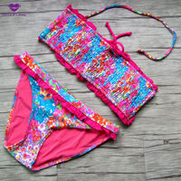 Sexy Classic Swimsuit Women Bikini Sets Tube Pad Top Bathing Suit Cropped Bohemia Rose Red Lacy