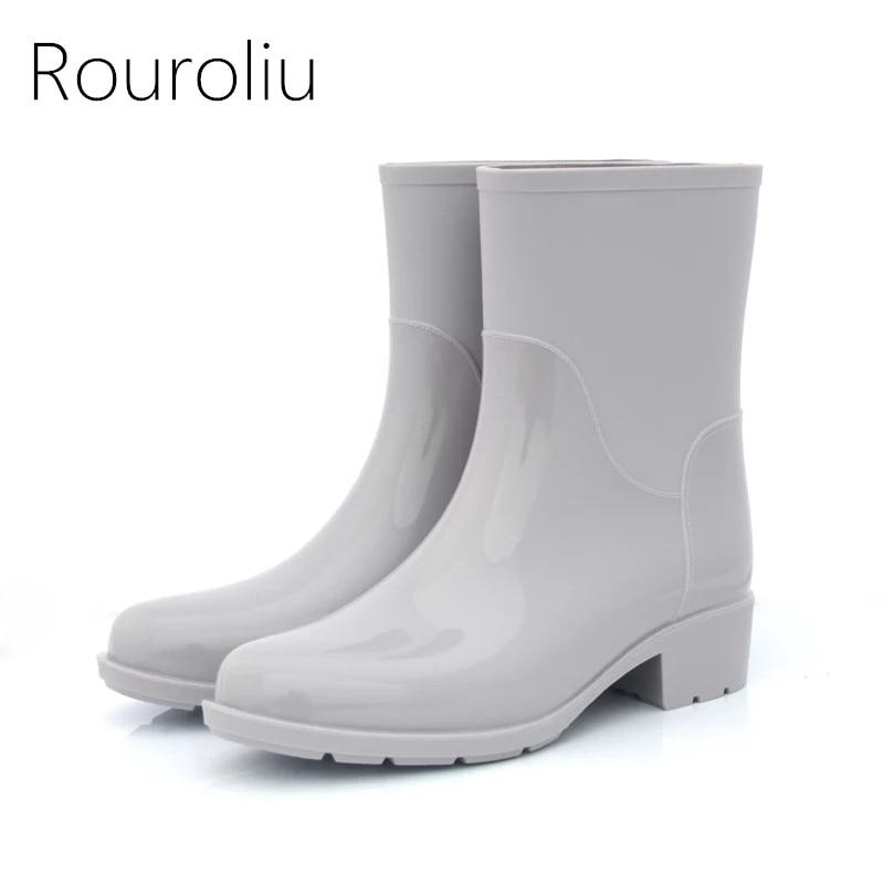 Rouroliu Women Non-Slip Mid-Calf Rubber Rain Boots Autumn PVC Waterproof Water Shoes Woman Wellies Slip-on RB218 rouroliu women non slip mid calf rubber rain boots autumn pvc waterproof water shoes woman wellies slip on rb218