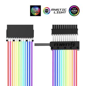 Image 1 - Lianli strimer 24 8 네온 라인 24 핀 전원 rgb psu 케이블/vga 8 p + 8 p 연장 어댑터 케이블 5 v 3pin D RGB 헤더 aura sync