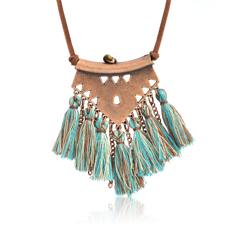 Vintage Colorful Long tassels pendant Necklace Leather Sweater Chian Hot Sale Bohemian BOHO Winter Accessories For Women