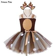 Girls Deer Tutu Dress With Headband Halloween Costume For Kids Girls Birthday Party Dress Children Cosplay Animal Costume 1 14Y