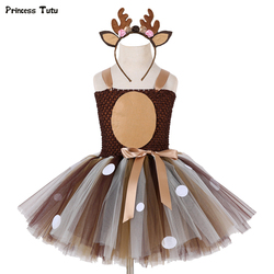 Girls Deer Tutu Dress With Headband Halloween Costume For Kids Girls Birthday Party Dress Children Cosplay Animal Costume 1-14Y