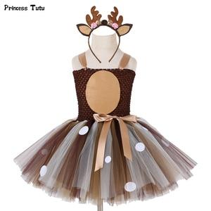 Image 1 - Meisjes Herten Tutu Jurk Met Hoofdband Halloween Kostuum Voor Kinderen Meisjes Verjaardagsfeestje Jurk Kinderen Cosplay Animal Kostuum 1 14Y