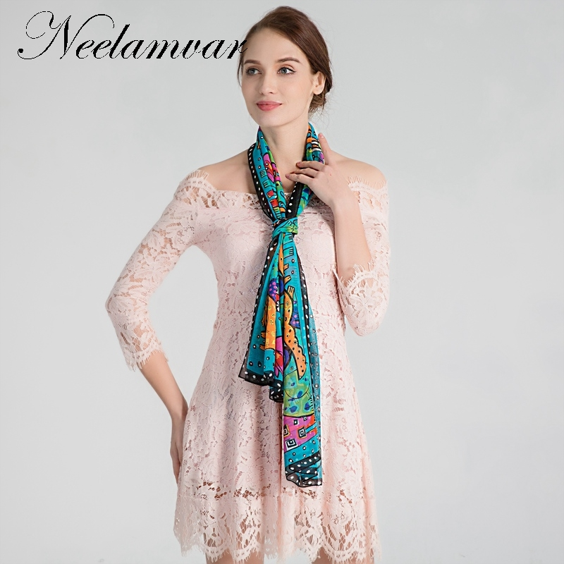 Neelamvar 2019 Brand Designer   Scarf   Artist Style Dog Print Woman Long Chiffon Silk Shawl Animal   Scarves   Foulard   wraps   wholesale
