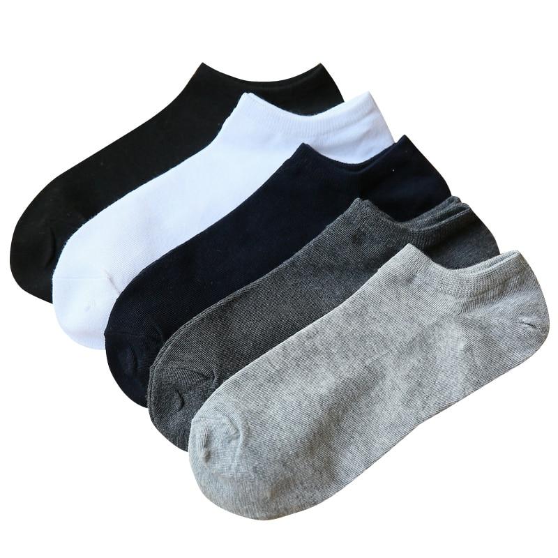 Calcetines finos de verano de algodón para hombres, calcetines invisibles de moda para hombre, calcetín masculino, 5 pares / lote