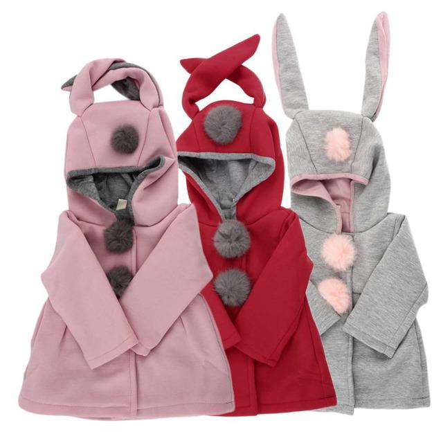 Novos 3 Cores Crianças Bonito Da Orelha de Coelho Com Capuz Casaco Meninas Outono Roupa Do Bebê Casacos de Inverno Casaco Quente Outerwear Roupas Diariamente