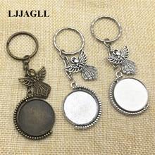 Holy Angel Charm Rhodium long Round Split Keyrings 3pcs 25mm Rotation Cameo Base Double Side Keychain Diy Jewelry Make AYSQ219