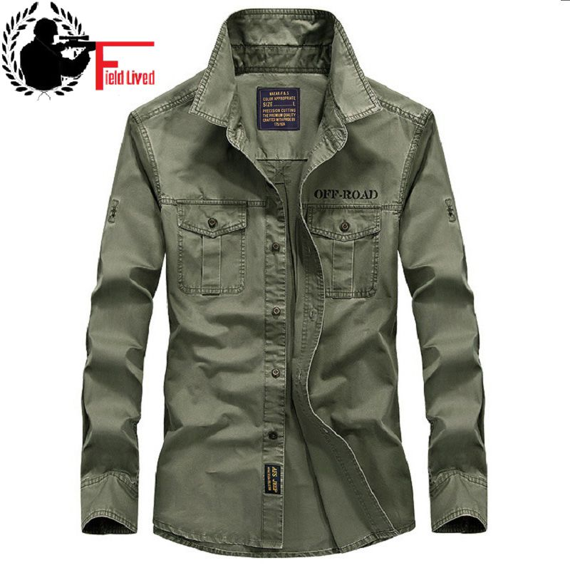 US $25.17 5% OFF|2019 New Casual Mens Military Style Army Tactical Shirts Long Sleeve Brand Clothing Slim Army Dress Shirt Male Green Khaki Navy in