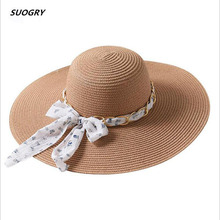 SUOGRY New Women Straw Sun Hat Summer Soft Chiffon Rbbon Bow-Knot Casual Metal Chain Wide Brim Beach Hats