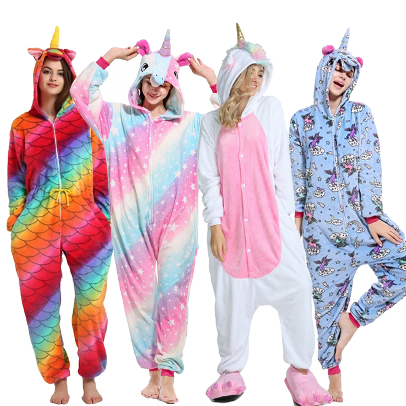 Adults Pijama Animal Unicorn   Pajamas     Sets   Panda Cartoon Kigurumi Women Winter Unisex Flannel Stitch   Pajamas   Unicornio Sleepwear