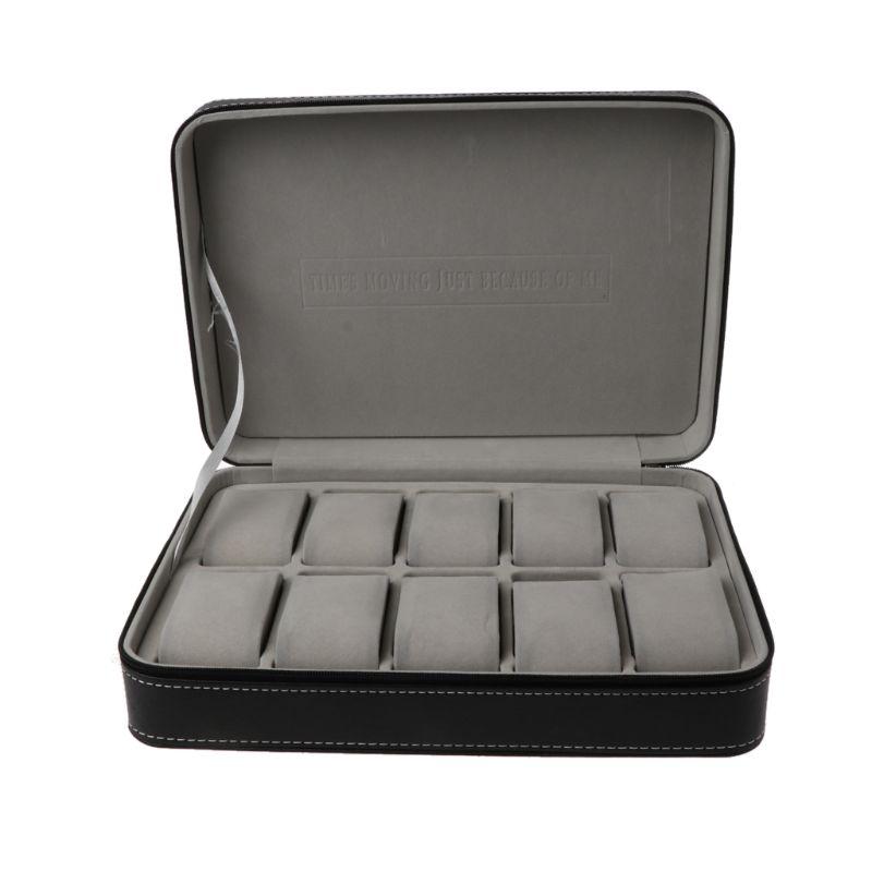 10 Slots Watch Zipper Travel Box Leather Display Case Organizer Jewelry Storage Drop Ship W2952001