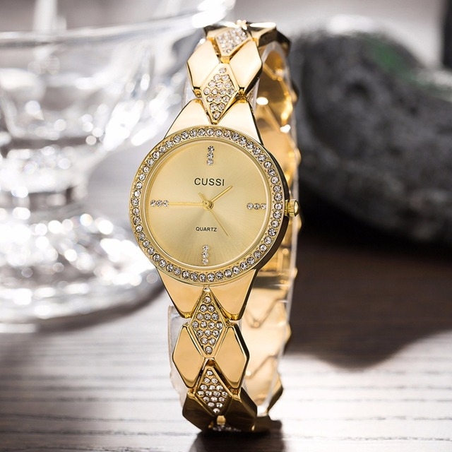 CUSSI 2018 New Womens Watches Gold Luxury Rhinestone Ladies Bracelet Watches Fas
