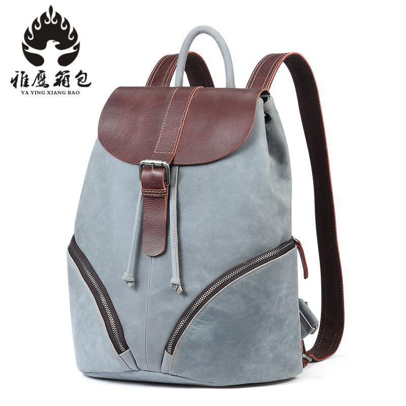 Brand Women Backpack Genuine Leather School Backpacks For Teenage Girls Shoulder Bag Large Capacity Travel Bags jmd backpacks for teenage girls women leather with headphone jack backpack school bag casual large capacity vintage laptop bag