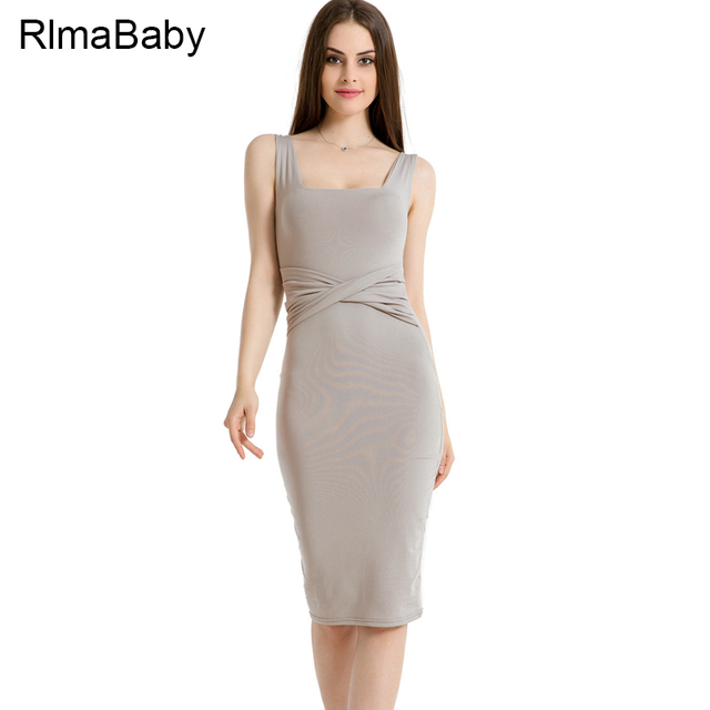 RLMABABY Criss Cross Pleated Women Midi Dress Sexy Square Collar Sleeveless  Backless Bodycon Vestidos Casual Patchwork Dresses 7e576b9022e0
