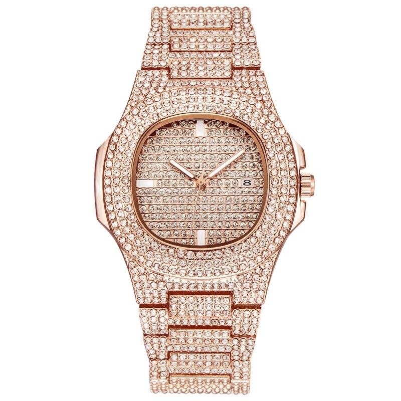 Bracelete de Cristal Calendário de Quartzo Relógio de Vestido de Luxo Moda Feminina Charme Relógio Muitos Diamante Mulheres Relógios Presente Reloj Mujer Top