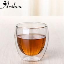 Arshen новая технология 80 мл прозрачная двойная стеклянная посуда с двойными стенками кофейные чайные чашки стеклянная посуда молоко пиво суп и изолированные винные чашки